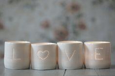 Love heart handmade porcelain tea light set - perfect wedding present or top table declaration! £60 from www.lunalighting.co.uk