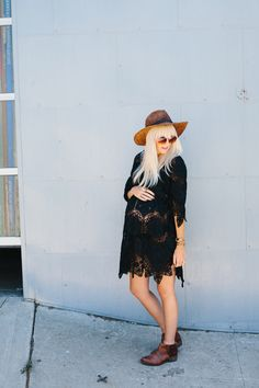 Blogger Kelli Murray | Dress (Moonstone Vintage). Boots (Matisse). Hat (Free…