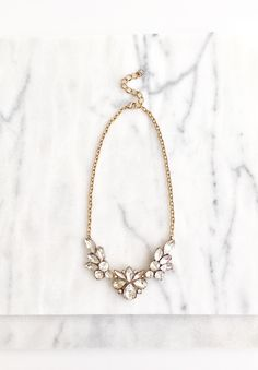 Floral Blossom Crystal Statement Necklace