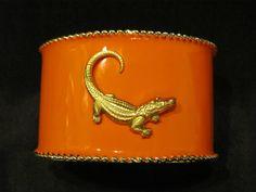 University of Florida Gameday Cuff Bracelets  Gator by GamedaybySJ, $40.00 jewelry gators alligator orange white blue gold bracelet
