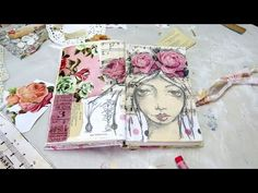 creating a mixed media girl art journal page - YouTube