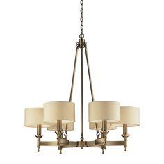 Elk Lighting Pembroke 6-light Antique Brass and Silver Drum Shade Chandelier