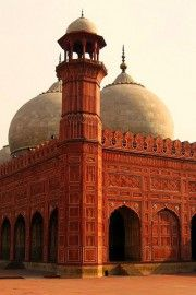 Angular View of Badshashi Mosque in Lahore, Pakistan from Under Arch