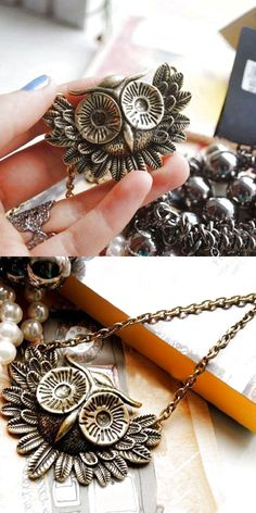 Women Fashion Vintage Colorful Rhinestone Bronze Owl Pendant Necklace Long Chain $3.96