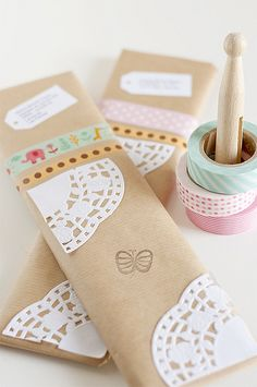 Washi Tape, Doilies and Butterfly Stamp Gift Wrapping 1/2 by aDm (FacilySencillo), via Flickr