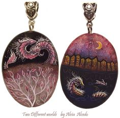 Two different worlds - stone painting. #fantasy #dragon #art #stone #painting #pendant #necklace #alviaalcedo on @DeviantArt