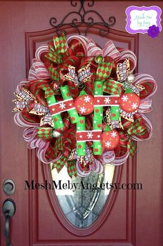 Deco mesh Christmas wreath  on Etsy, $65.00
