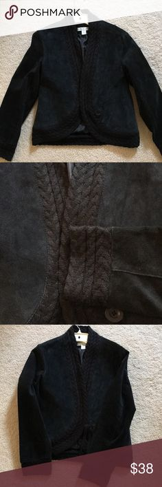 Suede black jacket with knitted trim unique Perfect condition. Great for spring. Xs would fit 4-6 Coldwater Creek Jackets & Coats Blazers