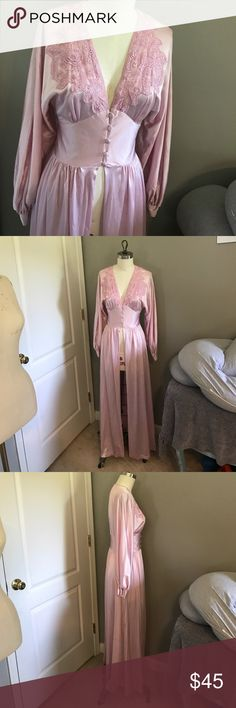 Vintage Lily of France bed jacket! Small Beautiful pink vintage bed jacket by Lily of France. Gorgeous lace detailing and button up corset style front closure. Floor length. Has a little bit of tiny rust colored stains as pictured. Very hard to notice with the skirt gathering. Lily of France Intimates & Sleepwear Robes