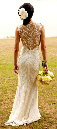 Claire Pettibone Chantilly    Continuing Collection      Beaded ivory cotton lace mermaid gown with sweetheart neckline and sheer back