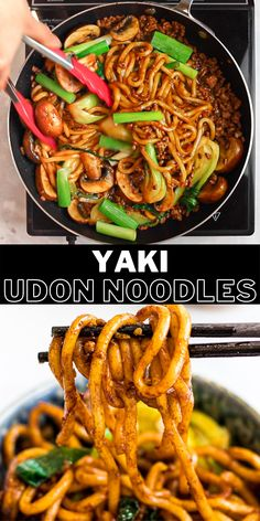 These stir fried udon noodes are an easy, delicious way to enjoy udon noodles! Add chicken, beef, shrimp, or pork to your yaki udon and stir fry it with a savory sauce made of soy sauce and oyster sauce. Ready in only 20 minutes for a quick and easy meal! Mexican Food Recipes, Beef Recipes, Vegetarian Recipes, Cooking Recipes, Chicken Recipes, Tai Food Recipes, Keto Chicken, Rotisserie Chicken, Kitchen Recipes
