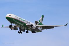 Eva Air Cargo - McDonnell DouglasMD-11F (B-16112) - lands at LAX on Aug. 31, 2013.