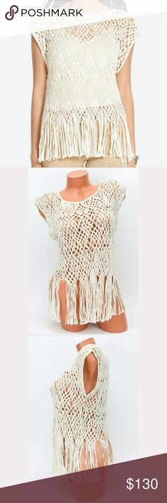 Polo Ralph Lauren cream crochet top with fringe S POLO RALPH LAUREN  NEW WITH TAGS  Woman's cream crochet top with fringe. 100% viscose, Hand wash.   This one is a head turner! Add a cami or tank top and you are ready for a night out Polo by Ralph Lauren Tops Blouses