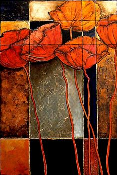 PATCHWORK, 9116, abstract floral collage by Carol Nelson Carol Nelson Fine Art, painting by artist Carol Nelson