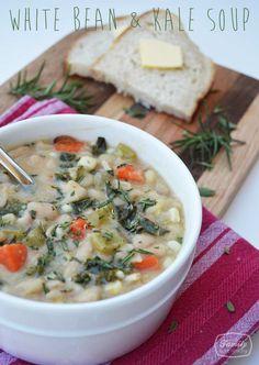 Family Gone Healthy Recipe: White Bean & Kale Soup Bean Recipes, Soup Recipes, Vegetarian Recipes, Cooking Recipes, Healthy Recipes, Healthy Soups, Yummy Recipes, Healthy Food, Recipes