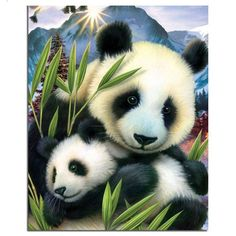 Diamond Painting pandas cross-stitch Diamond embroidery baby picture of rhinestones animals Set for embroidery for needlework Niedlicher Panda, Panda Art, Panda Love, Cute Panda, Cross Paintings, Animal Paintings, Animal Drawings, Drawing Animals, Resin Paintings