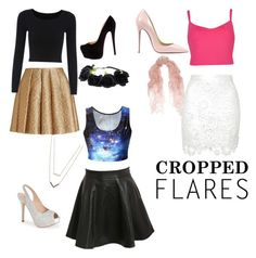 """""""Cropped flares"""" by claire-weening on Polyvore featuring Ted Baker, Pilot, Creatures Of The Wind, Christian Louboutin, Lauren Lorraine, Valentino, Michael Kors, women's clothing, women's fashion and women"""