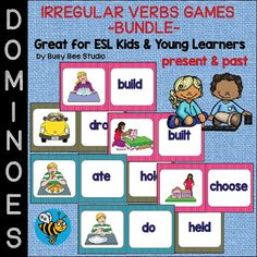 Let's drill irregular past tense verbs! These domino games are fun review activity for ESL/ELL Students and Young Learners! Players match the word side with the picture.There are 3 sets in this bundle.1) ESL Grammar: Irregular Verbs Domino Game - set 1Word List:1.