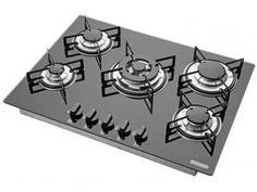 Cooktop 5 Bocas Tramontina Glass 94708 a Gás - Tripla Chama e Acendimento Superautomático