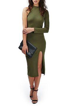 Topshop One Sleeve Ribbed Midi Dress
