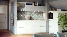 Kleine open keuken - ondiepe bovenkasten - passtuk - halfhoog kastenblok - open bergruimte...