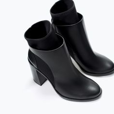Image 4 of NEOPRENE HIGH HEEL ANKLE BOOT from Zara  $79.90USD For those who just can't seem to get the right looking socks to peek out just the right enough way...so I'm obviously talking about myself. LOL. These boots are a bit TriCKY when it comes to chic fashion with a false sense of function. Concept of Form & Function? Not so much the best example.:o OMG Ridiculous! I have to own these shoes & these shoes are going to SO GOOD on me.^_~