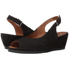 ara Colleen (Black Nubuk) Women's Sling Back Shoes ($179) ❤ liked on Polyvore featuring shoes, sandals, black shoes, mid-heel sandals, black peep toe shoes, black platform sandals and slingback shoes