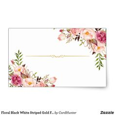 Floral Black White Striped Gold Frame Thank You Square Sticker Cute Wallpaper Backgrounds, Flower Backgrounds, Cute Wallpapers, Frame Floral, Flower Frame, Bakery Business Cards, Business Card Design, Wedding Doorgift, Wedding Cards
