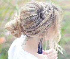 Braid headband with side bangs and and back bun
