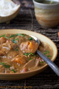 West African Peanut Stew ~ Peanut butter and sweet spices meld to give this stew an exotic kick. Easily adapted to be vegetarian, by adding additional sweet potatoes or yams in place of the chicken. ~ from @whatagirleats.com