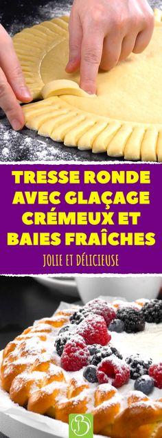 Avec la recette d'aujourd'hui, nous vous présentons un délice tressé sous une forme circulaire, parfaite pour accueillir le glaçage crémeux et les baies fraîches. #recette #dessert #tresse #patelevee #baies #fromagefrais #patemaison