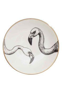 Porcelanowy talerz z nadrukiem: Mały porcelanowy talerzyk z nadrukiem. Średnica 15,5 cm.
