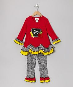 Take a look at this Red & Yellow Chalkboard Tunic & Leggings - Infant & Girls by Rare Editions on #zulily today!
