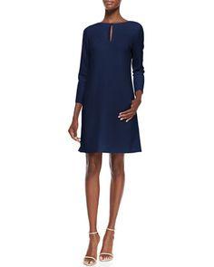 Long-Sleeve Slit-Front Dress, Navy by Lela Rose at Bergdorf Goodman.