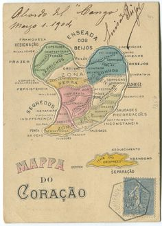 Even after the turn of the twentieth century, emotional maps continued to be published in various formats. Here is a Brazilian postcard from 1904, found in a collector's forum.