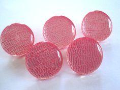 Five Vintage Pink Plastic Shank Buttons.