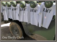 DIY shirts Army Birthday party.  ~One thriftychick