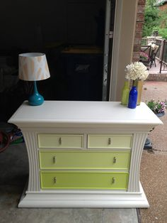 Wonderful inspiration for a chest of drawers upcycle. The Lime Green Ombre treatment is cool and elegant against the more elaborate frame of this charming cabinet.