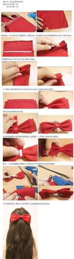 Cute Hair Bow DIY - Also great when making bowties for guys! just add elastic instead of the hair clip