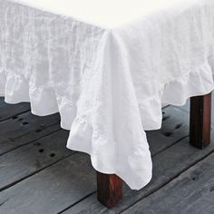 Linen Ruffle Tablecloth | Shabby Chic Table Linens - Linenshed – linenshed