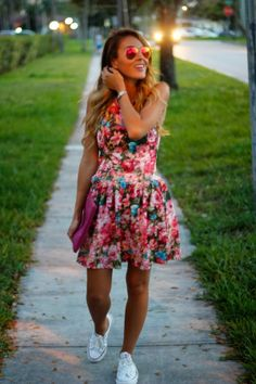 casual floral! Dress and converse