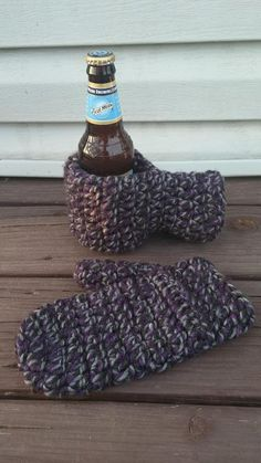Crochet Drink Mitt and matching Mitten via Craftsy