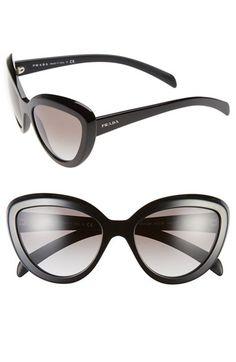 Prada 57mm Cat Eye Sunglasses in Light Havana please
