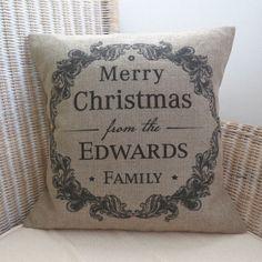 Personalised Vintage Style Christmas Cushion £36.00