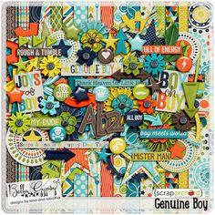 Digital Scrapbook Kit, Genuine Boy by Bella Gypsy