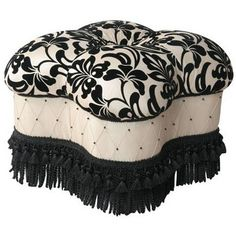 Yorke Black and White Fringe Ottoman. Not into the shape but I like the pattern combination.