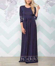 Love this Navy Dot Pocket Maxi Dress on #zulily! #zulilyfinds