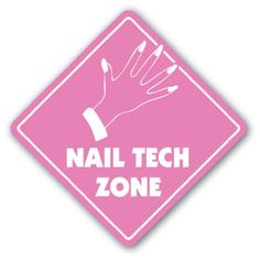 """NAIL TECH ZONE Sign xing gift novelty nails manicure pedicure polish tub - This is a brand new 12"""" tall and 12"""" wide diamond shape sign made from weatherproof plastic with premium grade vinyl. The sign is perfect for indoor or outdoor use, made to la"""