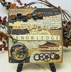 Altered Art Canvas | @Theresa Burger Burger Cifali Steampunk canvas including metal stamping