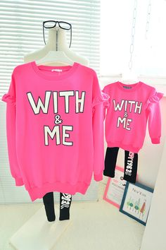 QZZ260 New Autumn Winter print letter 1 7Y kids family matching clothes mother daughter long sleeve family look t shirts outfits